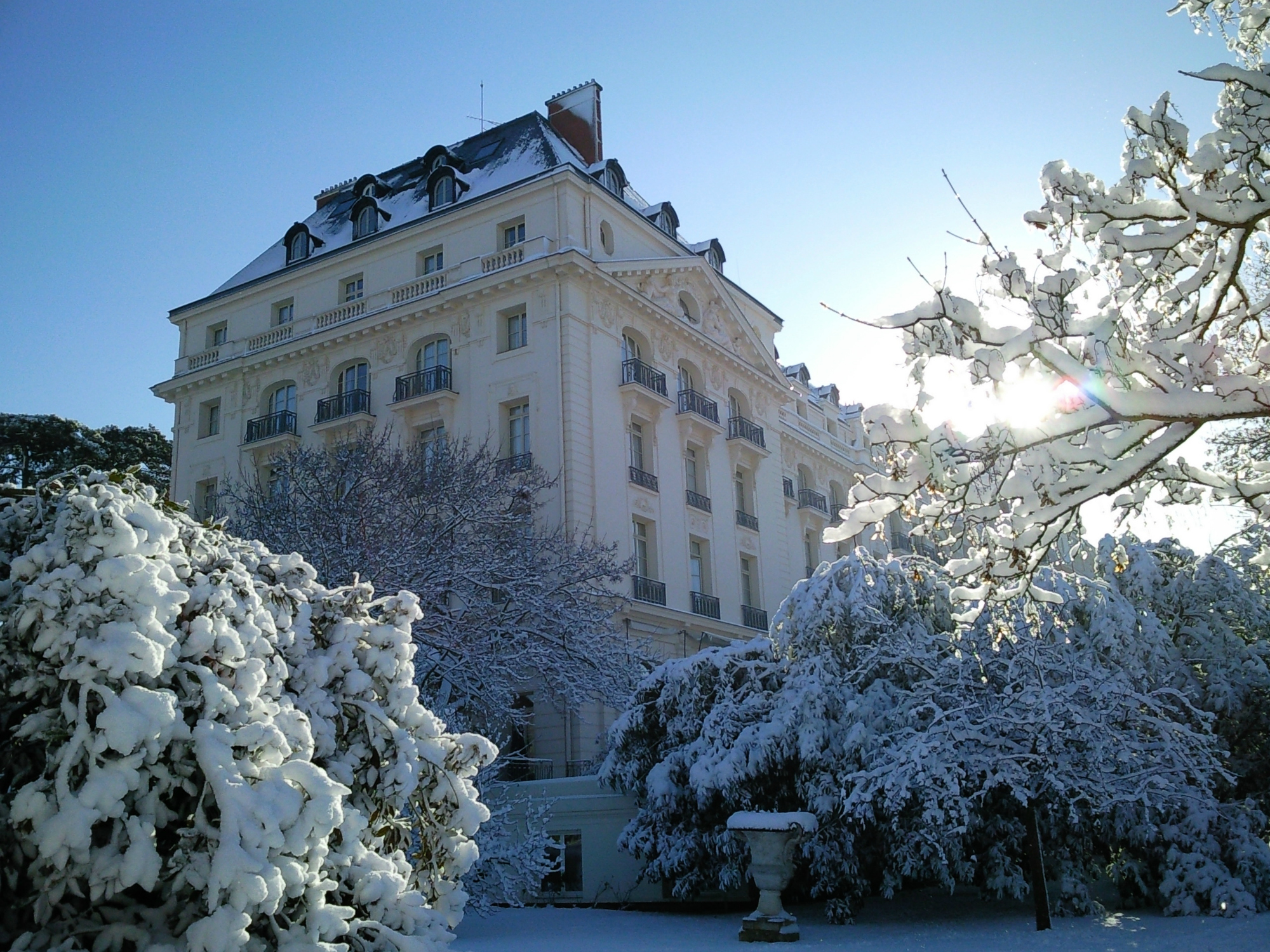 hotel in the winter surrounded by snow-covered trees