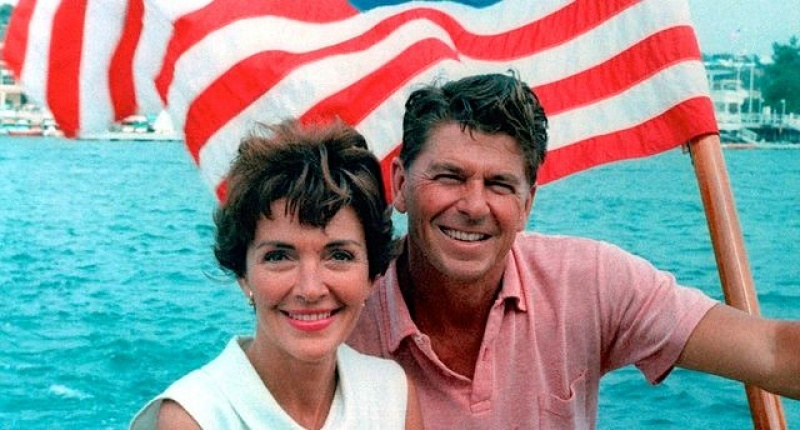 Ronald and Nancy Reagan on a boat