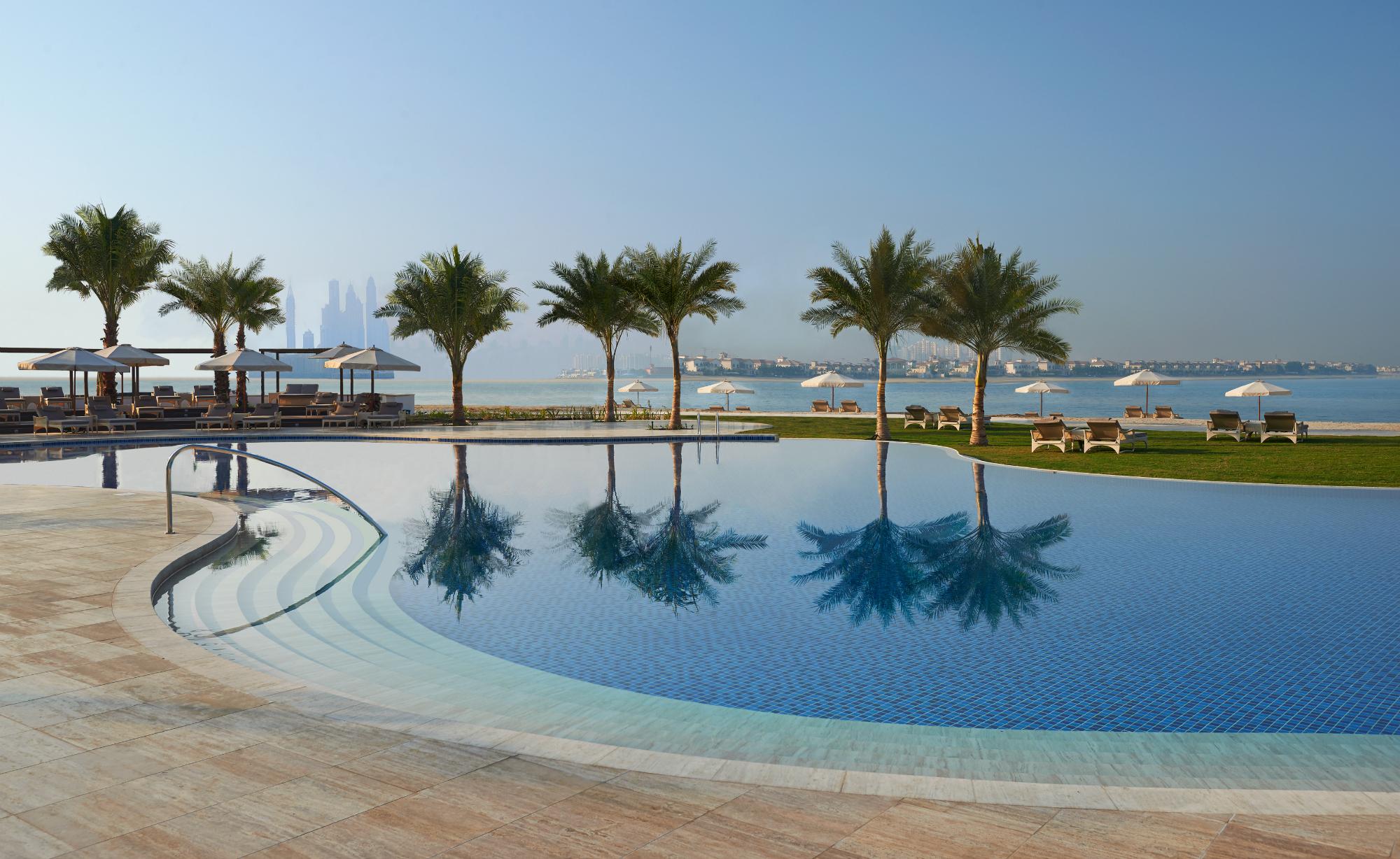 Hotel pool palm trees