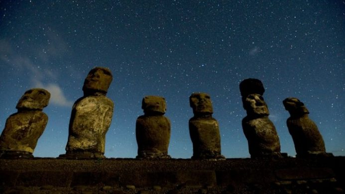explora Rapa Nui view of Moia carved stone statues on easter island under starry skies