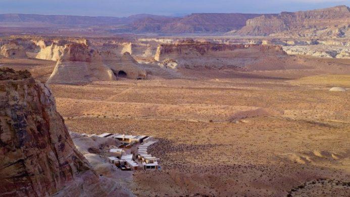 aerial shot of Amangiri resort in the Utah desert