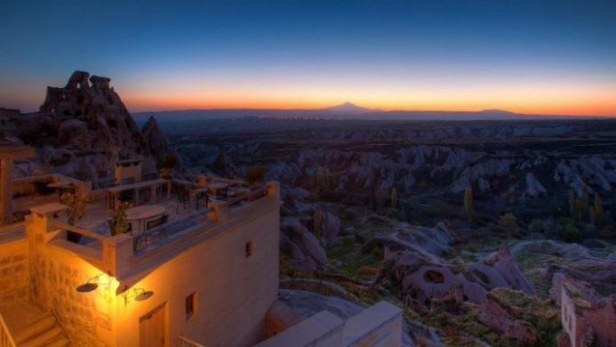 argos in Cappadocia cave hotel at nightfall