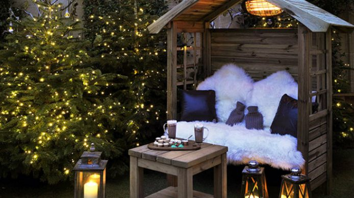 cozy outdoor bench with hot chocolate