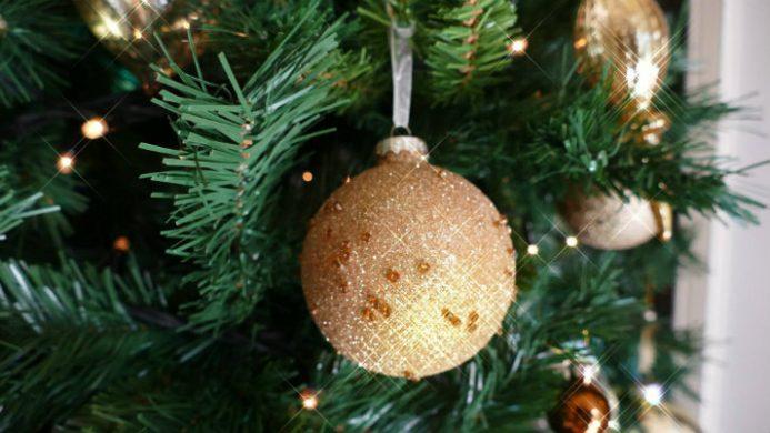 christmas bulb on christmas tree