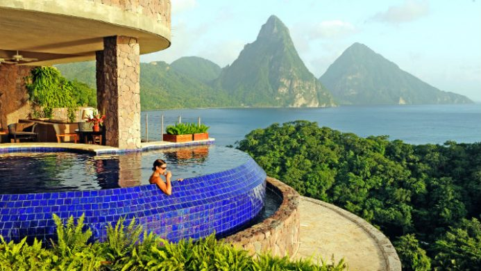 Jade Mountain resort's private pool sanctuary overlooking Piton mountains and Caribbean Sea
