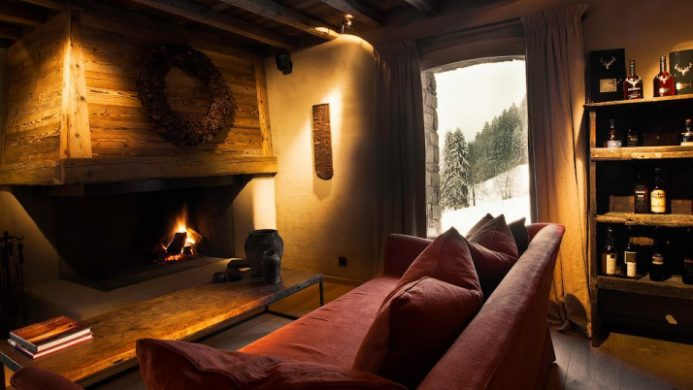 cozy room with fireplace