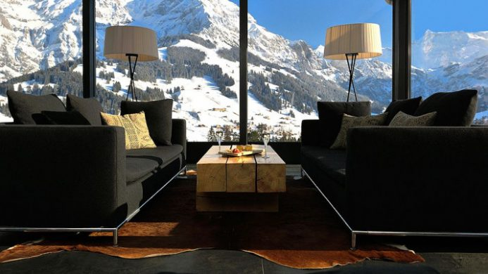 lounge with two sofas and view of mountains