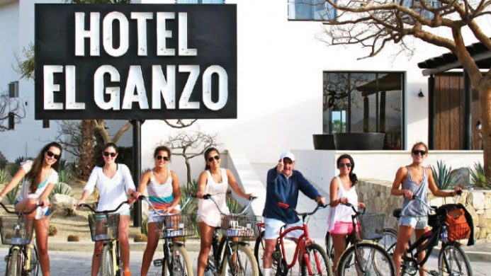 Hotel El Ganzo group on bikes outside hotel