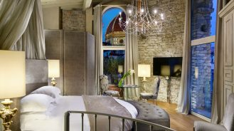 Hotel Brunelleschi tower suite bedroom with view