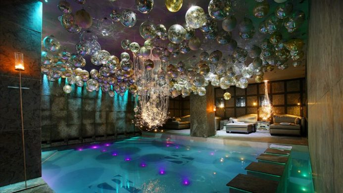 Hotel le Saint Roch indoor pool with hanging crystals
