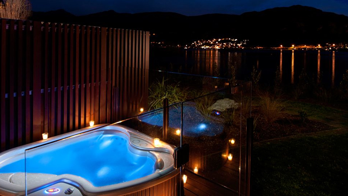 Queenstown Hilton hot tub terrace with evening view