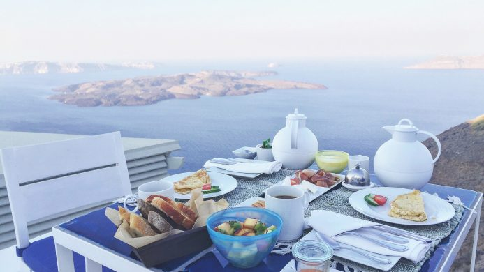 Iconic Santorini hotel brunch