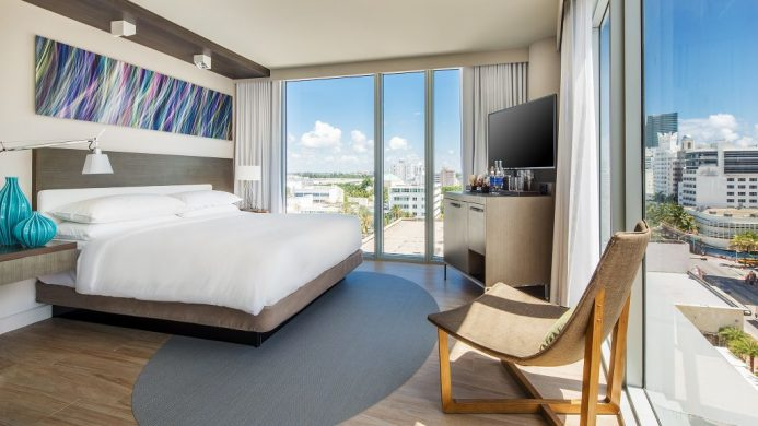 Hyatt Centric South Beach corner room with floor to ceiling windows