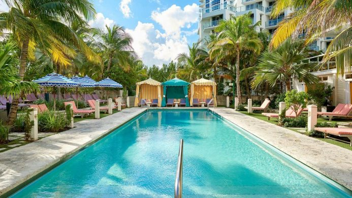 The Confidante, Unbound Collection by Hyatt pool with colorful cabanas