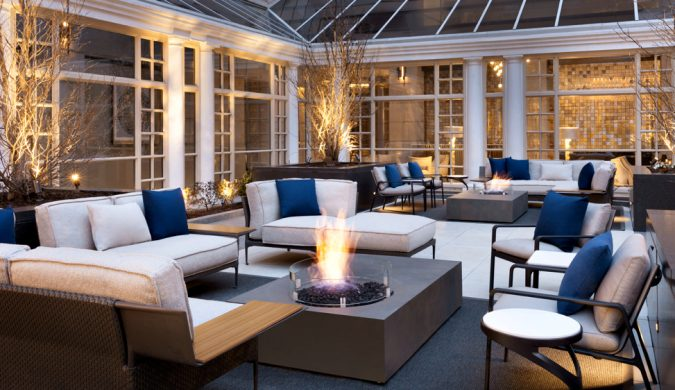Fairmont Washington outdoor courtyard with fire pit