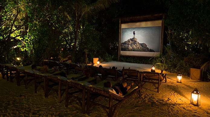 Gili Lankanfushi, Maldives outdoor movie in the jungle