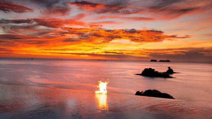 Casa Chameleon Hotel at Las Catalinas Pool Sunset Ocean View