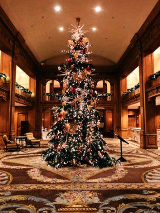 Fairmont Olympic lobby with christmas tree