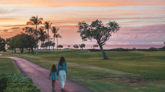Mother daughter Big Island sunset