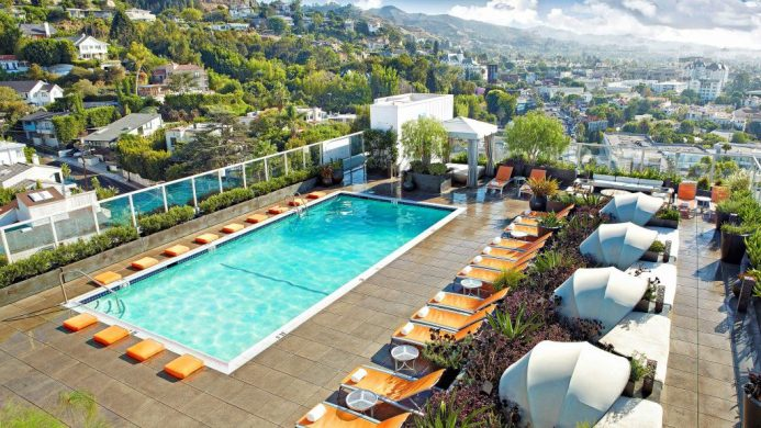 Andaz West Hollywood rooftop pool overlooking Hollywood Hills