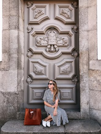Ana Linares in front of church in Porto