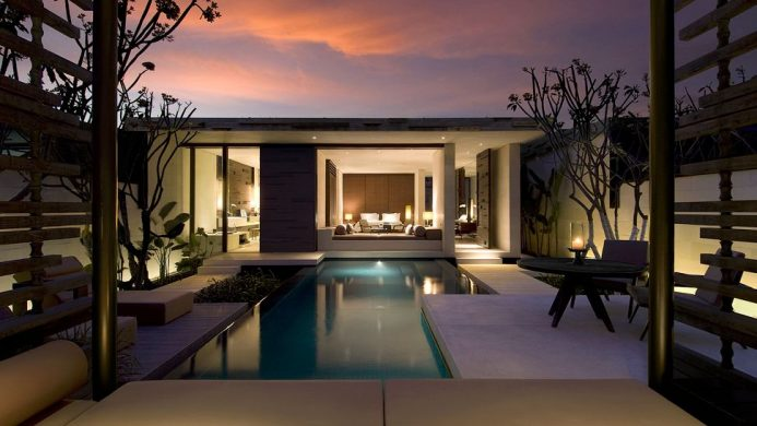 Alila Villas Uluwatu private villa pool in the evening