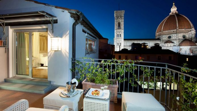 Hotel Brunelleschi Pool Suite terrace overlooking cathedral and bell tower