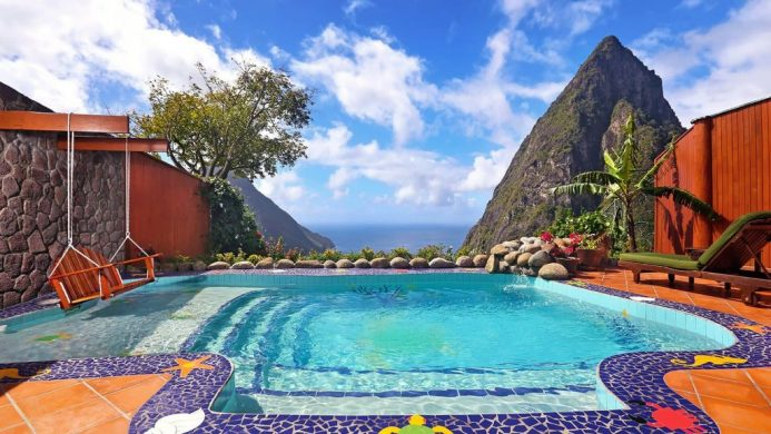 Suites at Paradise Ridge, Ladera Resort private plunge pool with swing and view of the Caribbean Sea