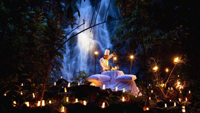 The Sarojin dinner by jungle waterfall with private chef and candles