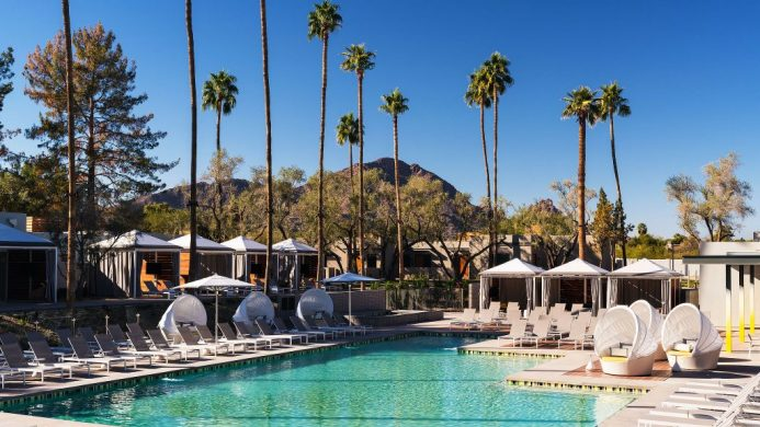 Andaz Scottsdale Resort & Spa daytime pool and cabanas with mountain backdrop
