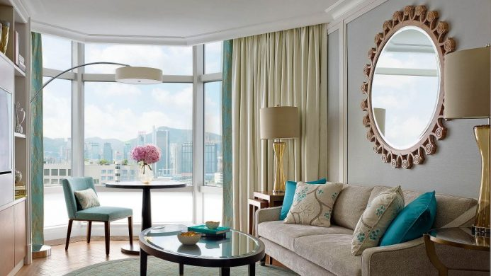 The Langham Hong Kong Suite Living Room with View of Hong Kong