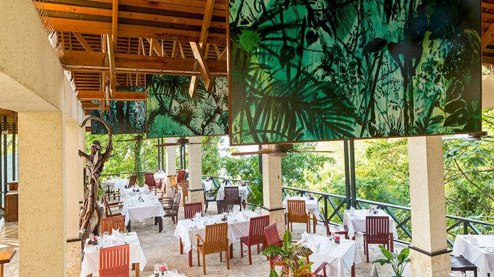 Anse Chastanet Treehouse Restaurant with jungle view