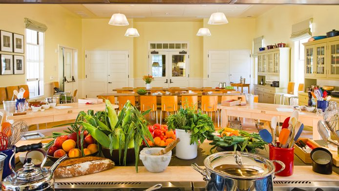 The Cavallo Point Cooking School table with produce