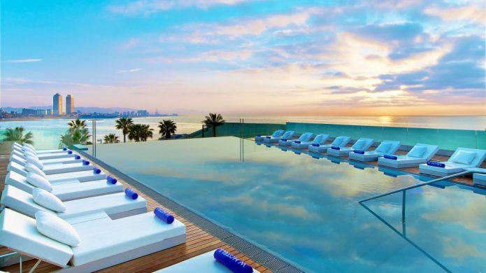 Pool deck towering over Mediterranean Sea