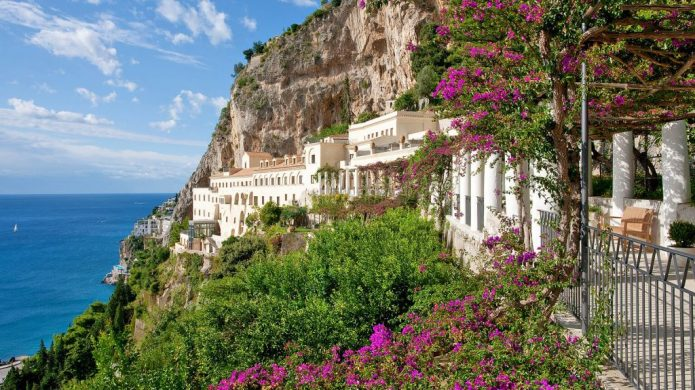 NH Collection Grand Hotel Convento di Amalfi on a rugged cliff overlooking the Mediterranean