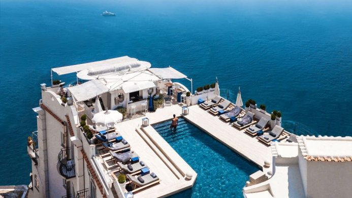 Villa Franca's rooftop pool hanging over the Mediterranean Sea