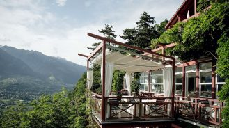 Alpine terrace with a view of the mountains
