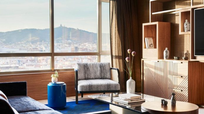 Suite at Nobu Hotel Barcelona with Japanese decor and large windows