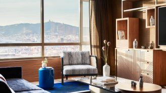 Suite at the Nobu Hotel Barcelona with Japanese decor and large windows