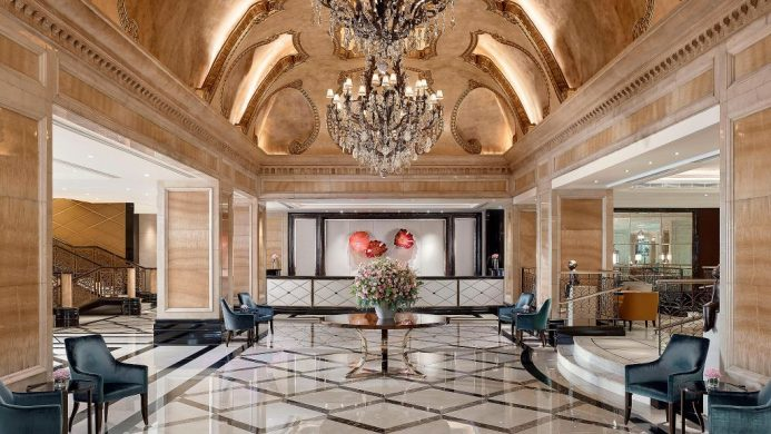 Marble lobby with European-style ceiling and chandelier at The Langham, Hong Kong
