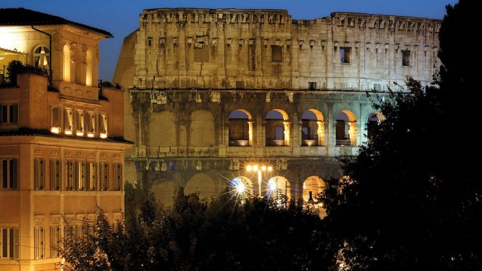 View of the Roman Colosseum from the Palazzo Manfredi hotel