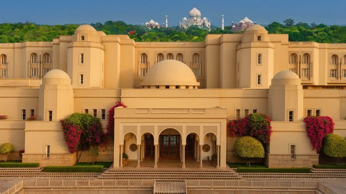 The Oberoi Amarvilas exterior with the Taj Mahal in the background