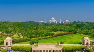 The Oberoi Amarvilas with Taj Mahal in the background