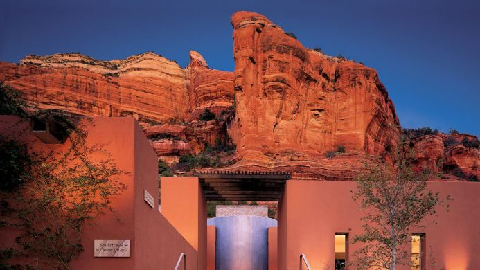 Enchantment Resort spa entrance with red rock backdrop