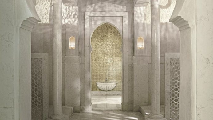 Hammam spa with intricate white Arabic architecture