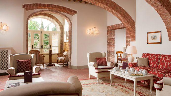 Hotel Borgo San Felice lobby with bricked arches