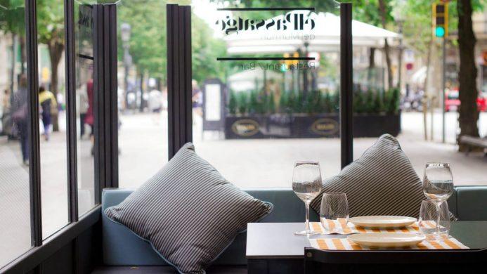 Murmuri Barcelona's glass-enclosed terrace on the street