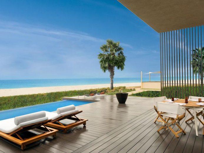 The Oberoi, Al Zorah beachfront villa terrace with private pool