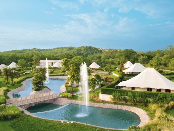 The Oberoi Sukhvilas overhead view of garden fountains and tented buildings