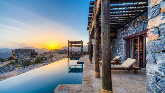 Alila Jabal Akhdar Jabal Villa pool next to mountain landscape